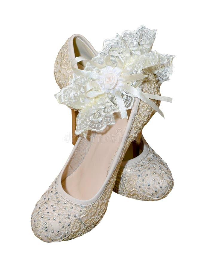 Schoenen met kouseband voor bruid royalty-vrije stock fotografie