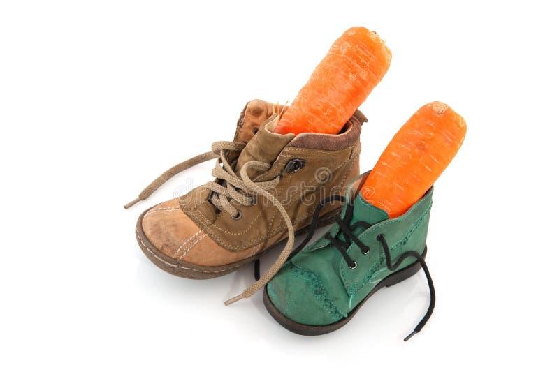 Schoenen met wortelen royalty-vrije stock foto