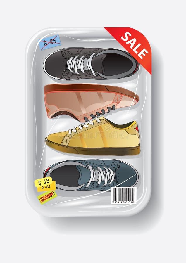 Schoenen in plastic container royalty-vrije illustratie