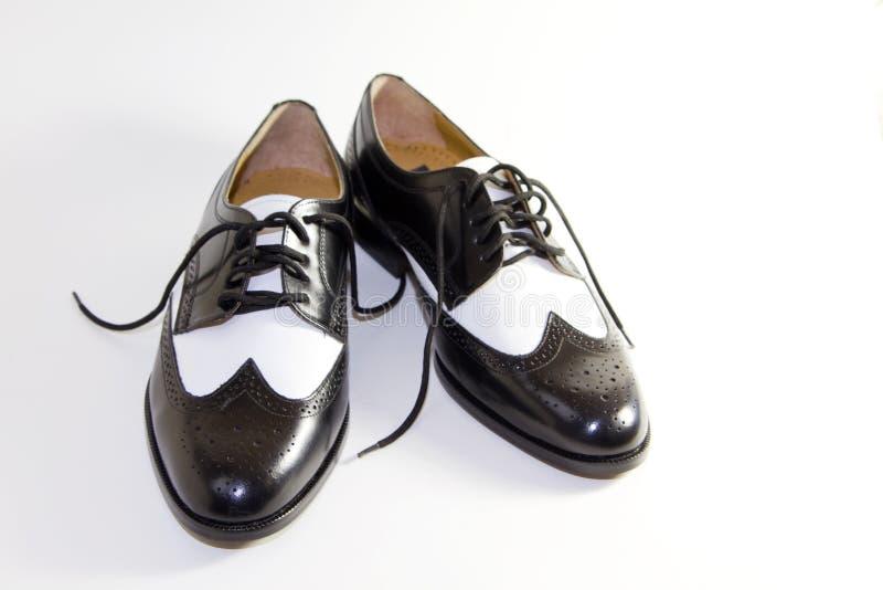 Schoenen van de Kleding van het Leer van mensen Retro Zwart-witte stock afbeelding