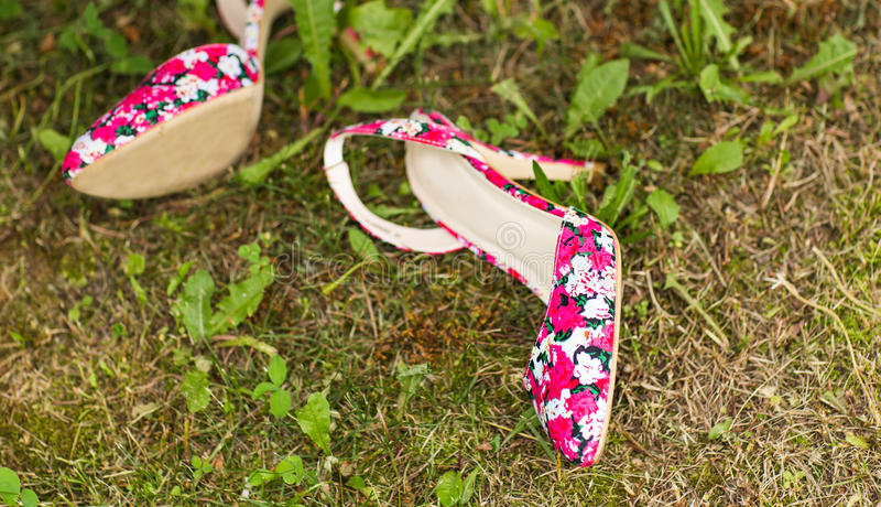 Schoenen van een vrouw op groen gras Het concept van de de zomervakantie, daglicht stock foto