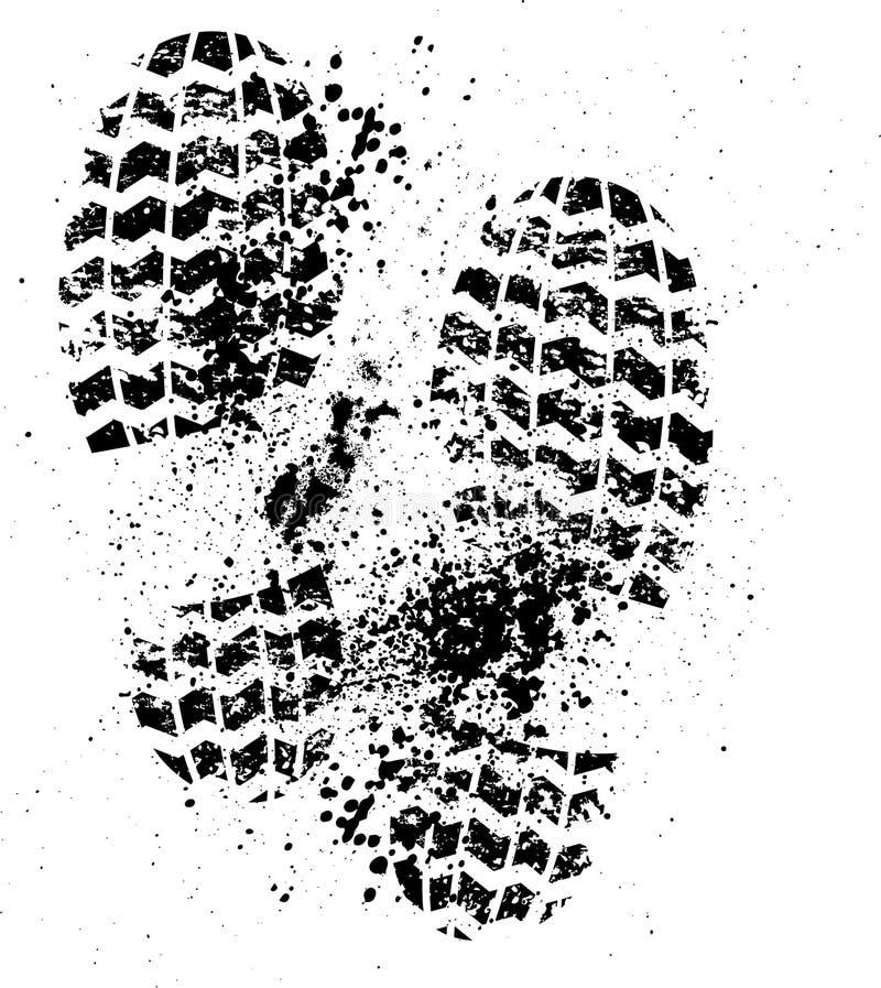 Schoenendruk grunge vector illustratie