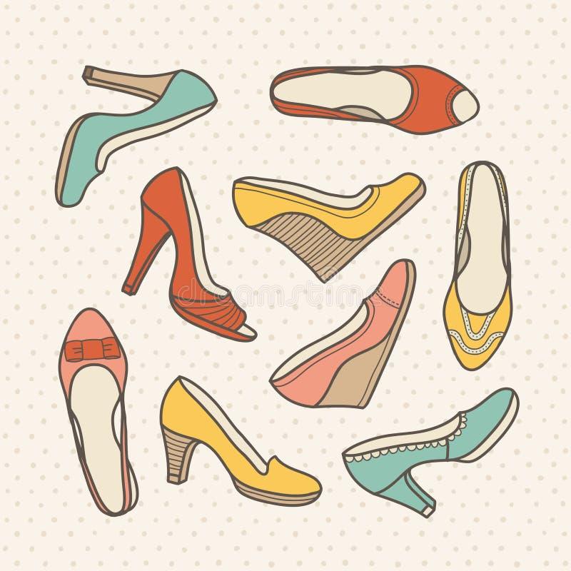 Schoeneninzameling vector illustratie