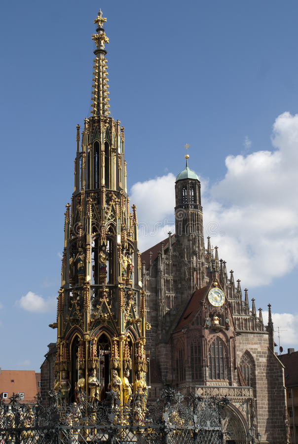 Schoener Brunnen in Nuremberg stock photos