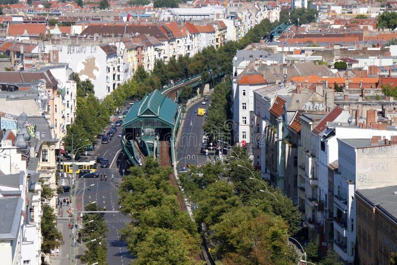 Schoenhauser Allee Berlin. SEPTEMBER 2012 - BERLIN: aerial view of the Schoenhauser Allee in the Prenzlauer Berg district of Berlin royalty free stock photo