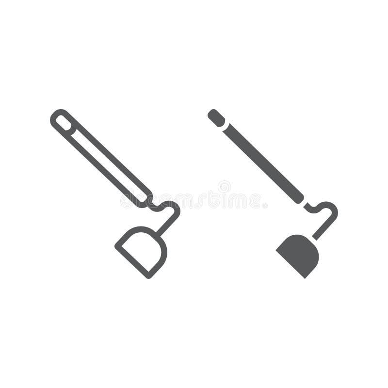 Schoffellijn en glyph pictogram, materiaal en landbouw, hulpmiddelteken, vectorafbeeldingen, een lineair patroon op een witte ach vector illustratie
