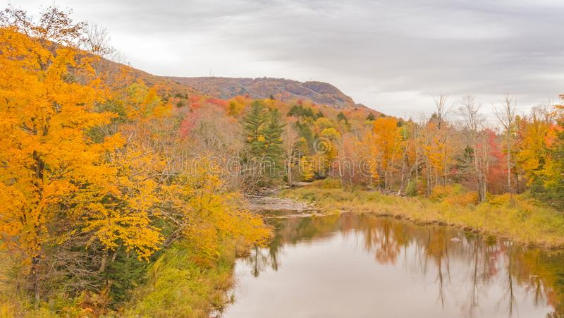 Schoharie Creek and Autumn colors stock photography