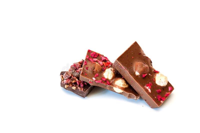 Schokolade auf einem weißen Hintergrund stockfotos