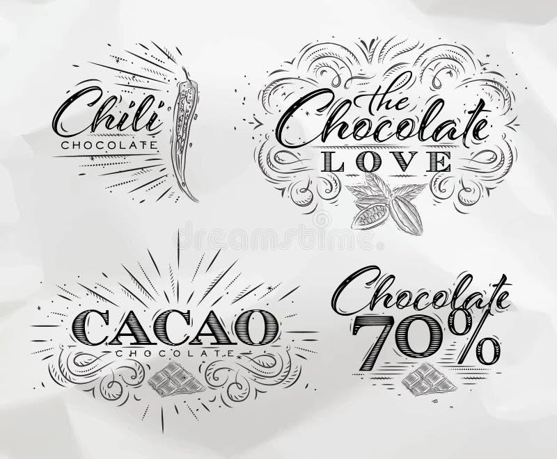 Schokolade beschriftet Sammlung lizenzfreie abbildung