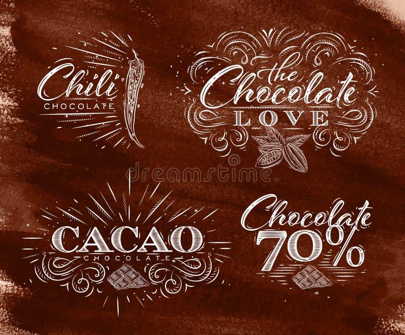 Schokolade beschriftet Sammlungsbraun lizenzfreie abbildung