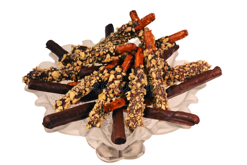 Schokolade deckte Brezeln ab lizenzfreie stockfotos