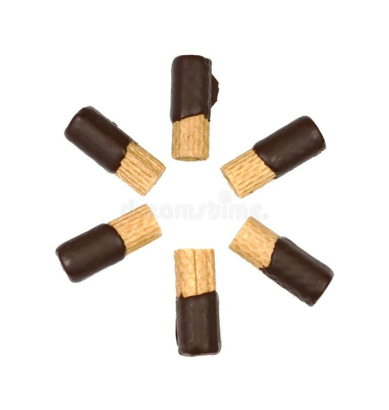 Schokolade eingetauchte Oblaterollen stockfoto