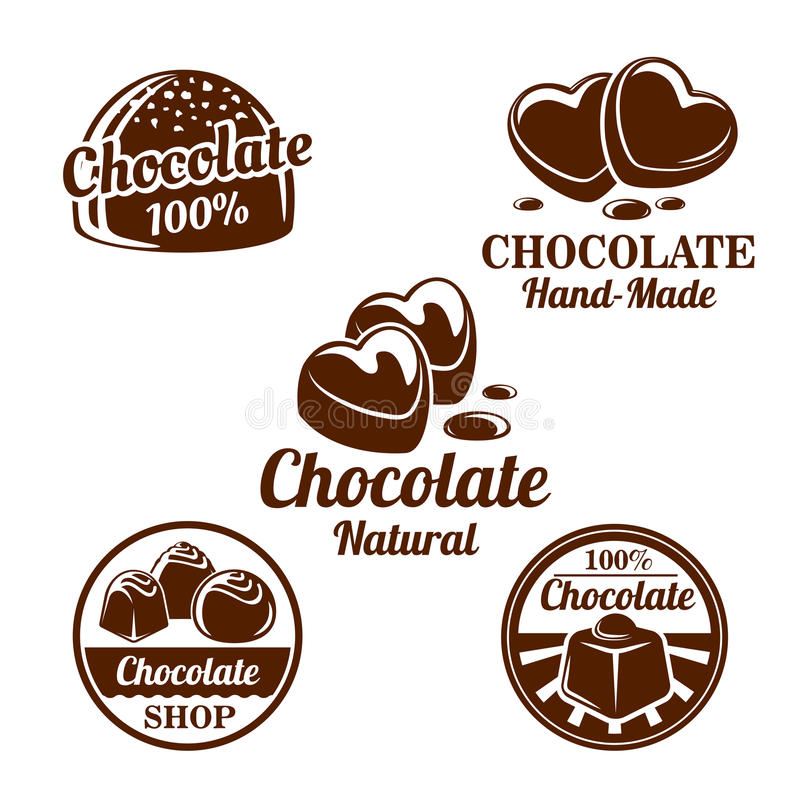 Schokolade, Kakaobonbon-Symbolsatz für Lebensmitteldesign stock abbildung