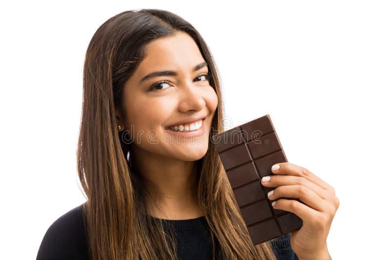 Schokolade kann mich lächeln immer lassen stockfoto