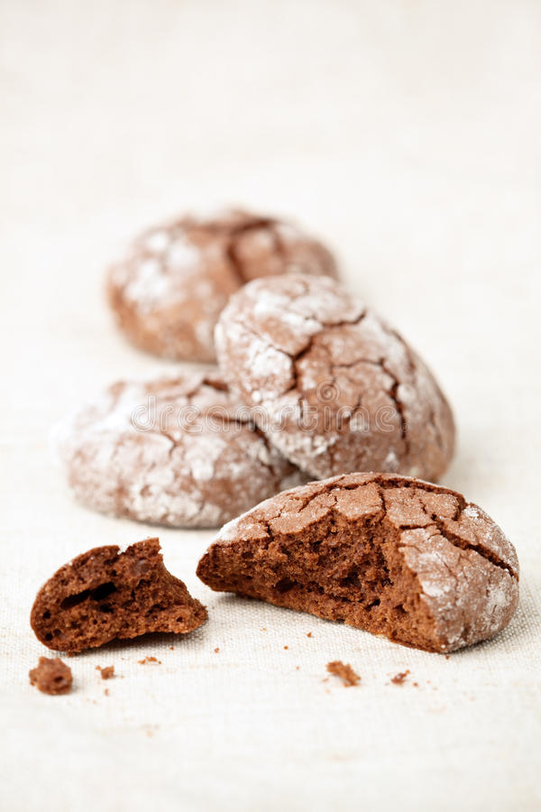 Schokolade krümmt Plätzchen stockbild