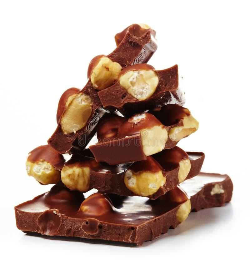 Schokolade mit Muttern stockfoto