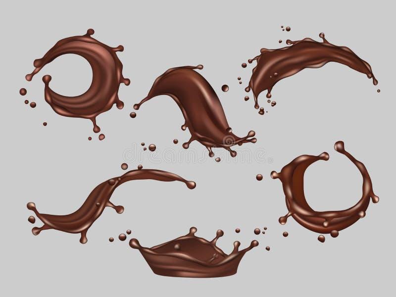 Schokolade spritzt Realistische Schablone des fl?ssigen Kakaonahrungsmittelhei?en Getr?nk-Vektors stock abbildung