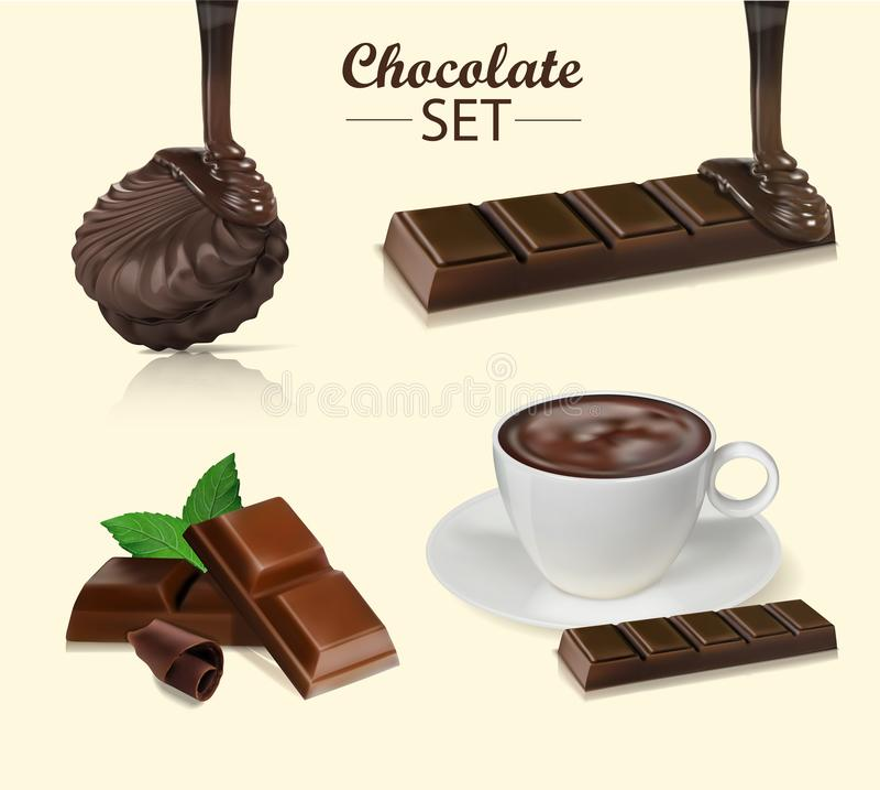 Schokolade Stücke, Schnitzel, Kakao lizenzfreie abbildung