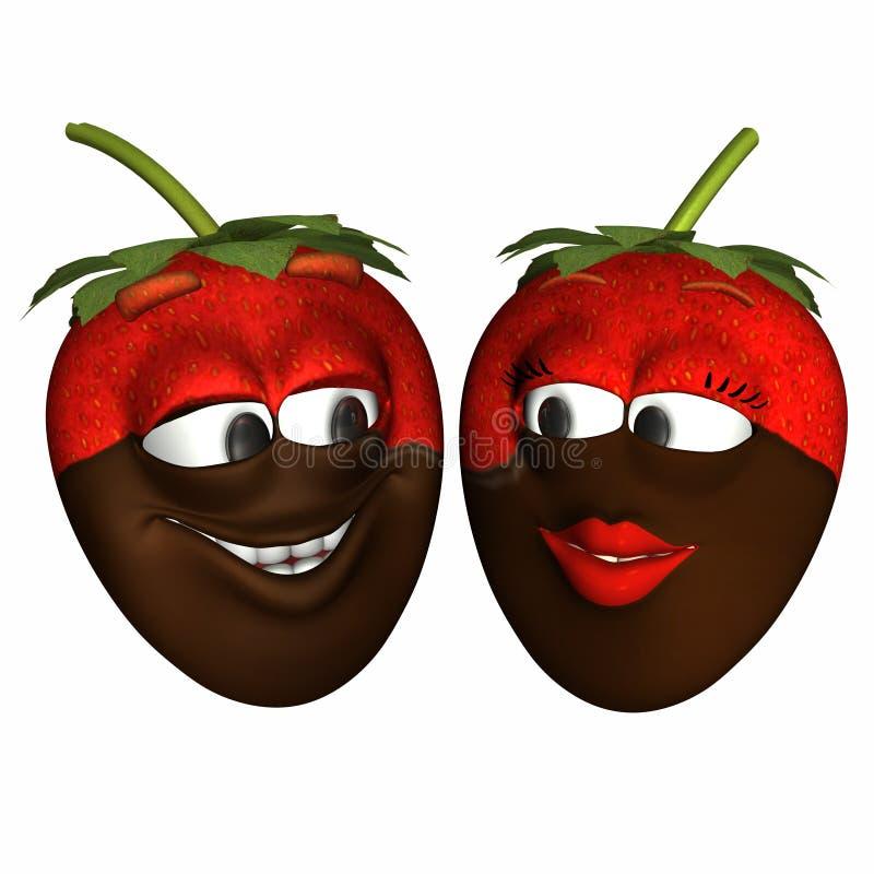 Schokolade tauchte Erdbeere-smiley ein lizenzfreie abbildung