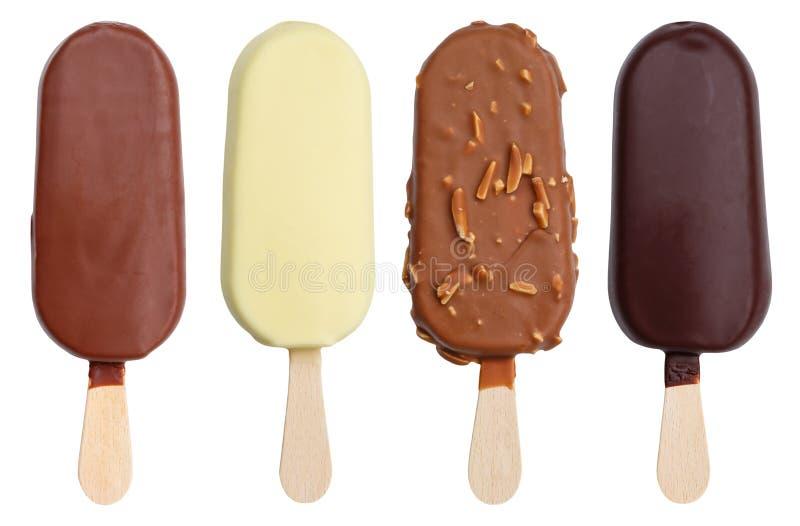 Schokolade umfasste Eiscreme-Aromavielzahlsammlung auf einem Stock lizenzfreie stockfotografie