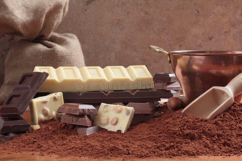 Schokolade und Kakao der Tabelle stockfotografie