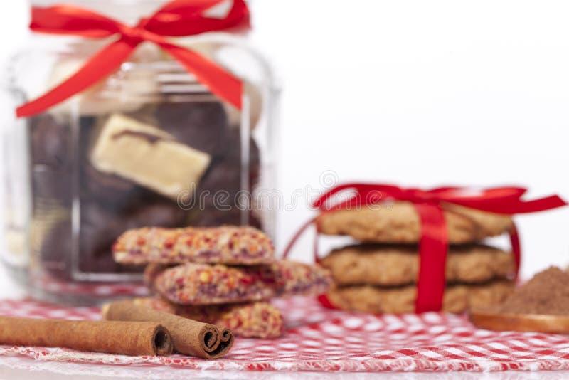 Schokolade und Plätzchen stockbild