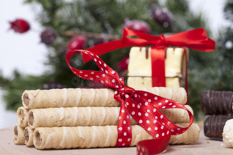 Schokolade und Plätzchen stockbilder