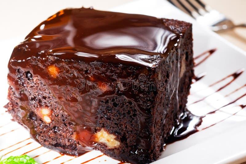 Schokolade und Walnusskuchen stockfotografie