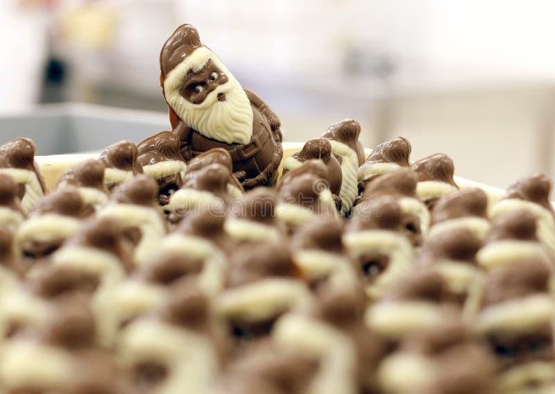 Schokolade Weihnachtsmann für Weihnachten stockbild