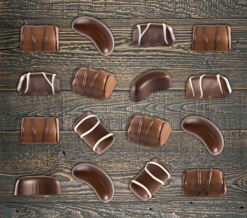 Schokoladen-Bonbon-Muster stockfotos