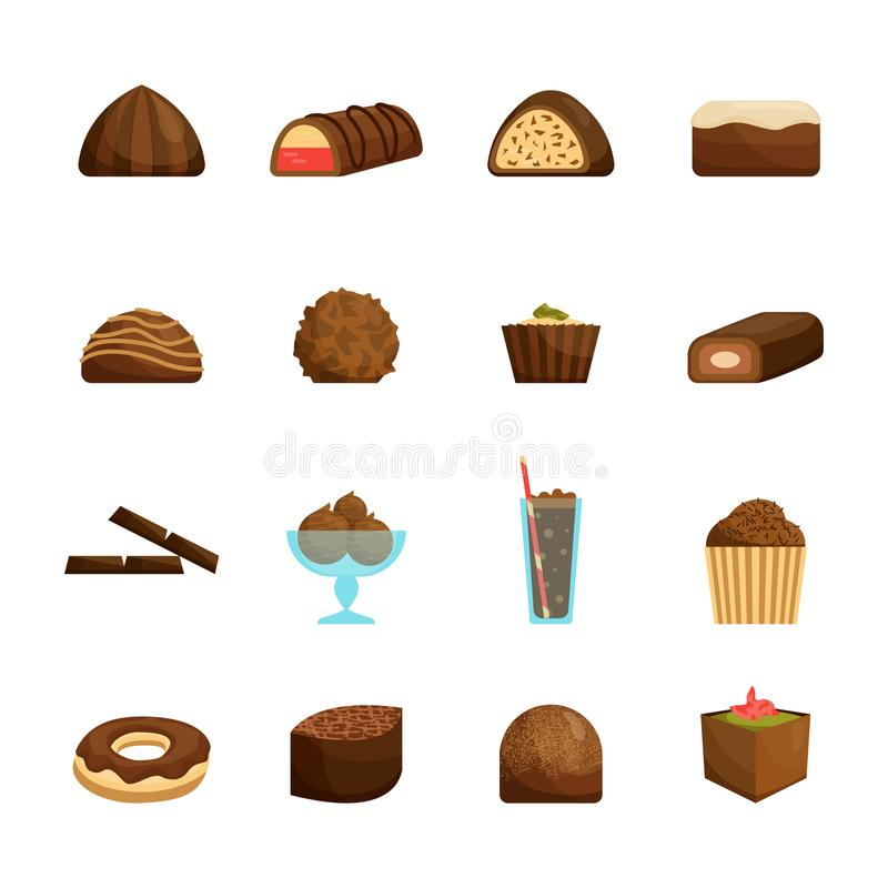 Schokoladen-Bonbons eingestellt Vektor vektor abbildung