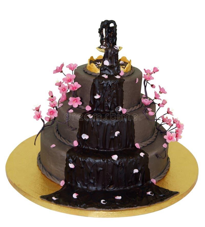 Schokoladen-Brunnen gefrorener Kuchen stockfotografie