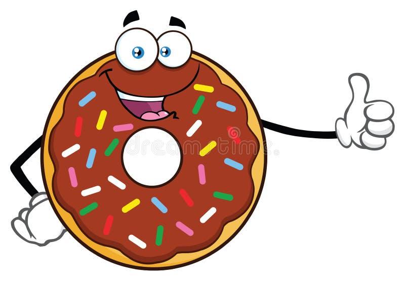Schokoladen-Donut-Karikatur-Maskottchen-Charakter mit besprüht einen Daumen aufgeben stock abbildung