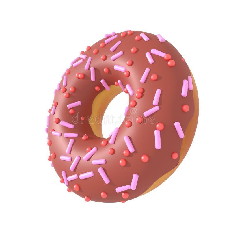Schokoladen-Donut mit besprüht Wiedergabe 3d vektor abbildung