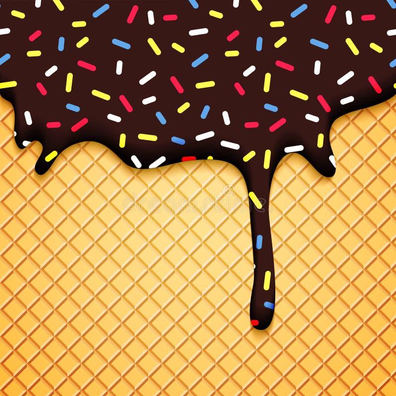 Schokoladen-Eiscreme-Illustration mit Oblate vektor abbildung