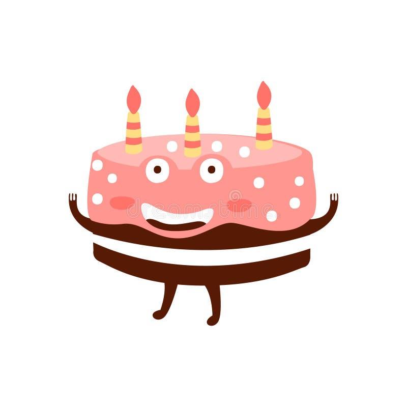 Schokoladen-Geburtstags-Kuchen mit drei Kerzen Kindergeburtstagsfeier-Attribut-Karikatur-glücklichen humanisierten Charakter-in G lizenzfreie abbildung