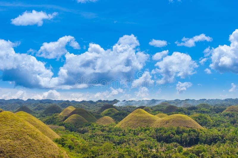 Schokoladen-Hügel am sonnigen Tag, Bohol, Philippinen stockbild