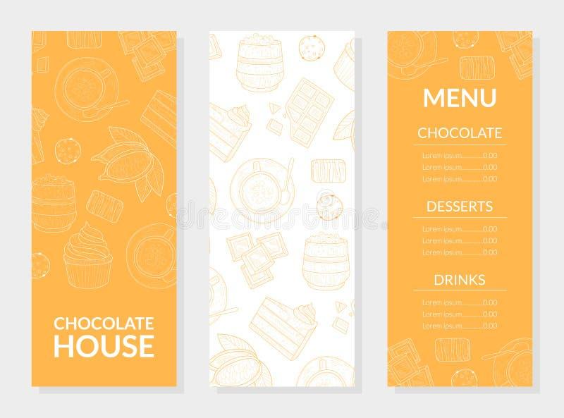 Schokoladen-Haus-Menü-Karten-Schablone, Schokolade, Nachtische und Getränke, Restaurant, Cafeteria, Süßigkeiten-Gestaltungselemen lizenzfreie abbildung