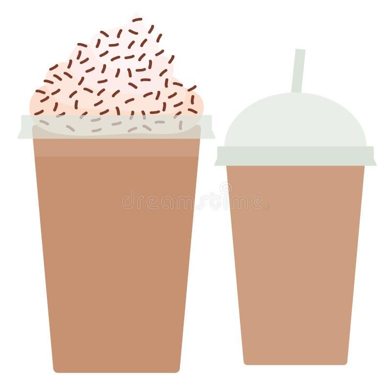Schokoladen-Kaffee transparente Plastikschale zum Mitnehmen Smoothie mit Stroh und Schlagsahne Getrennt auf weißem Hintergrund Ve lizenzfreie abbildung