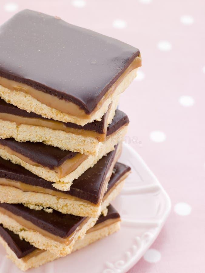 Schokoladen-KaramellShortbread stockfoto