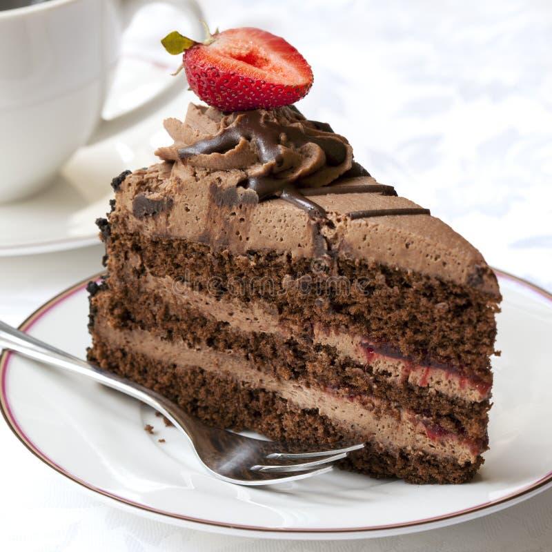 Schokoladen-Kuchen mit Kaffee stockfoto