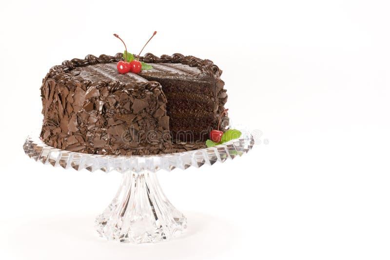 Schokoladen-Kuchen mit Kirschen stockfotos