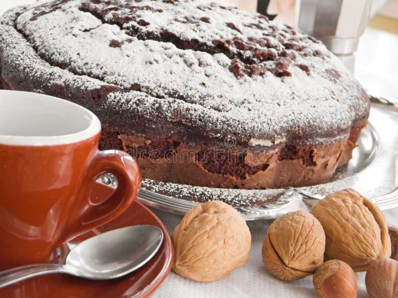 Schokoladen-Kuchen mit Muttern. lizenzfreie stockfotografie