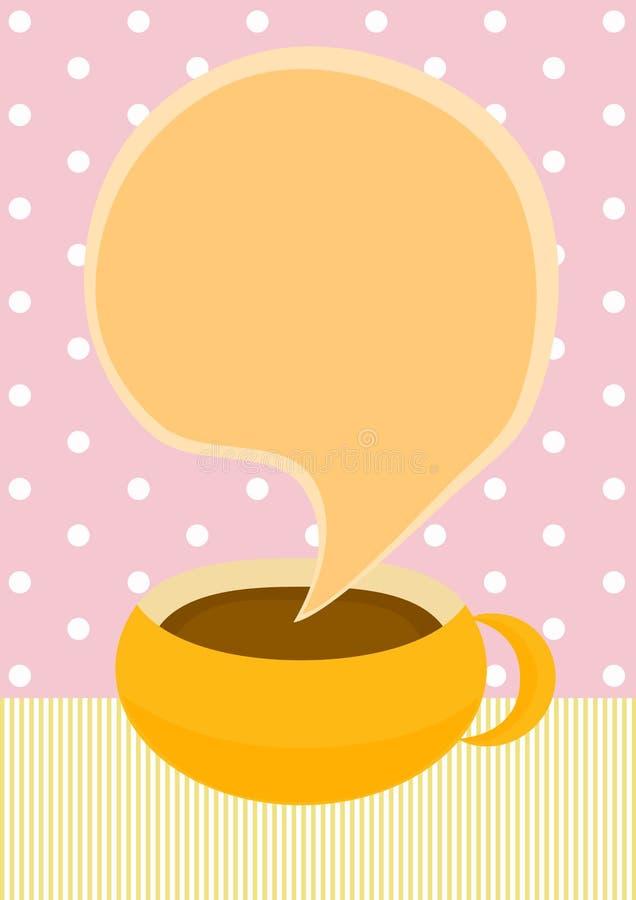 Schokoladen- oder Kaffeetasseeinladungskarte lizenzfreie abbildung