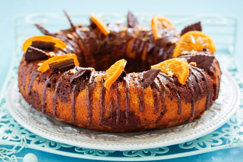 Schokoladen-orange Kuchen stockfotos