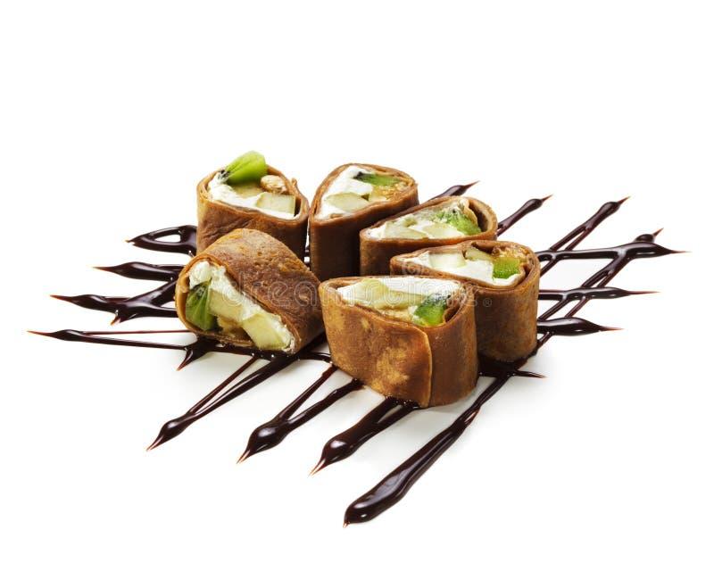 Schokoladen-Sushi-Rolle stockfoto