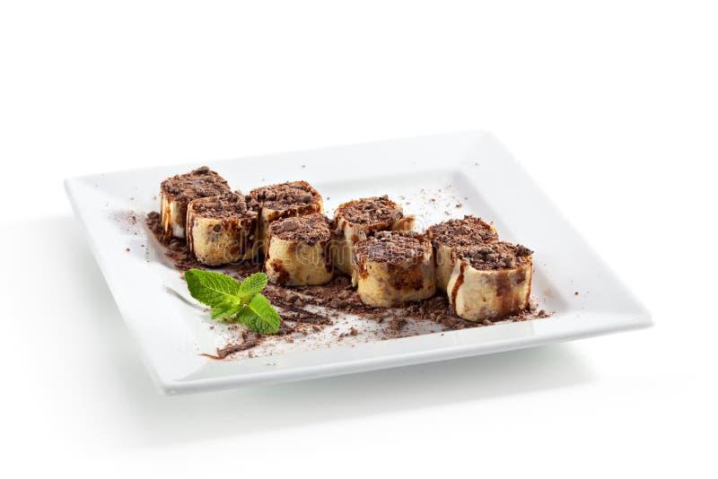 Schokoladen-Sushi-Rolle lizenzfreies stockbild