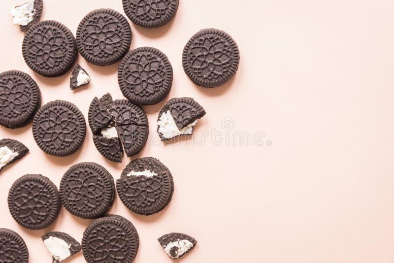Schokoladen- und Cremeplätzchen Oreo stockfotografie