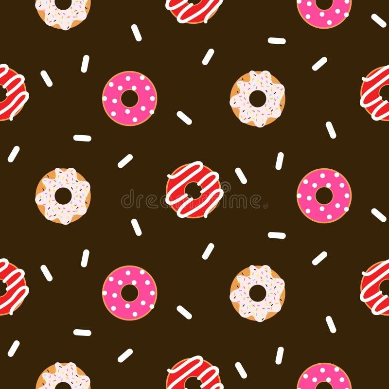 Schokoladen-Vektormuster des Donuts Rosa glasig-glänzendes nahtloses vektor abbildung