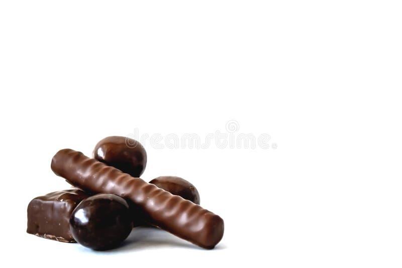 Schokoladen von den verschiedenen Formen, rund, lang, rechteckig, lizenzfreies stockfoto